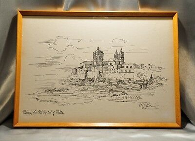 FRAMED SIGNED DRAWING Mdina, the Old Capital of Malta (0999)