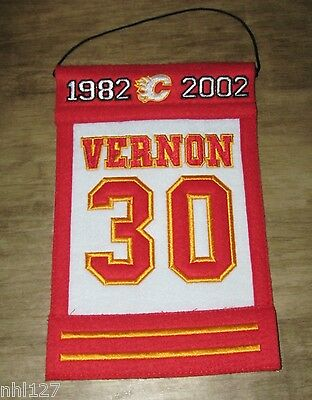 Calgary Flames NHL #30 Mike Vernon Commemorative WOOL Retirement Banner