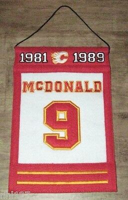 Calgary Flames NHL #9 Lanny McDonald Commemorative WOOL Retirement Banner