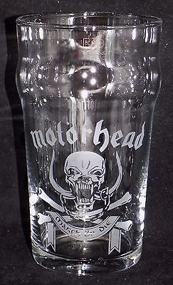 """New Etched """"Motorhead"""" Pint Glass - Can be personalised & Gift Boxed (PM25)"""