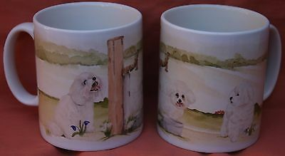 BICHON FRISE DOG Mug Off to the dog show painting watercolour print Sandra Coen