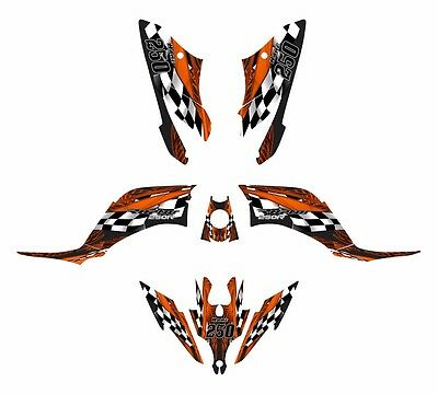 Raptor 250 R graphics decal sticker kit #3500 Orange Free Custom Service