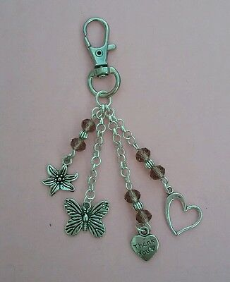 THANK YOU Handbag Charm/Keyring - BUTTERFLY/FLOWER/HEART Charms. Gift/Present.