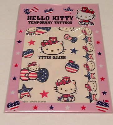 Sanrio Hello Kitty Patriotic Temporary Tattoos 2 Sheets Flag USA Uncle Sam NEW