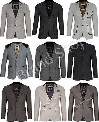 Mens Blazer Marc Darcy  Coat  Herringbone  Slim Fit Formal Suit Jacket Patches