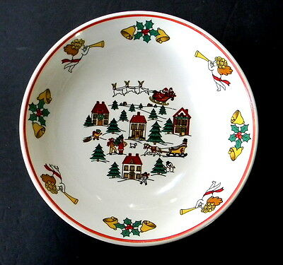 Jamestown The Joy of Christmas Round Vegetable Bowl Smooth Red Trim 9 1/8 in