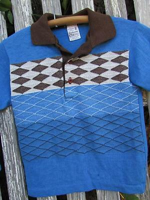 Boys kids youth child Vintage Woolworth argyle polo shirt long sleeves sz 8