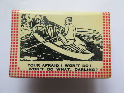 M V WESTRALIA MATCHBOX COVER c1950s SHIPPING COLLECTABLE WITH NAUGHTY PHRASES