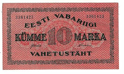 1922 Unc Rare Original Banknote 10 Marka Estonia Estonian Antique