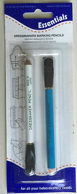 2x Whitecroft Essentials Dressmakers Marking Pencils Tailors Chalk + Brush Ends
