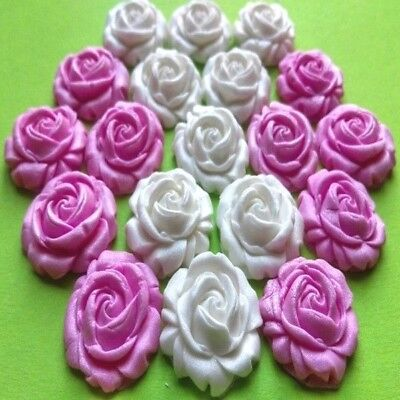 20 edible sugar roses flowers cake cupcake toppers (AIRBRUSHED)