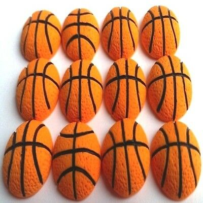 12 Edible sugar basketball theme party decorations cake cupcake toppers