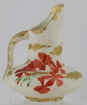 """Hampshire Creamware Decorated 6"""" Pitcher Signed 'ab' W/orange Blossoms Mint"""