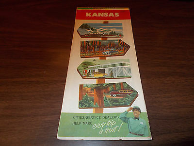 1950s Cities Service Kansas Vintage Road Map