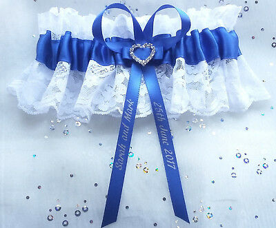 Personalised Royal Blue White Lace Diamante Heart Wedding Bridal Brides Garter