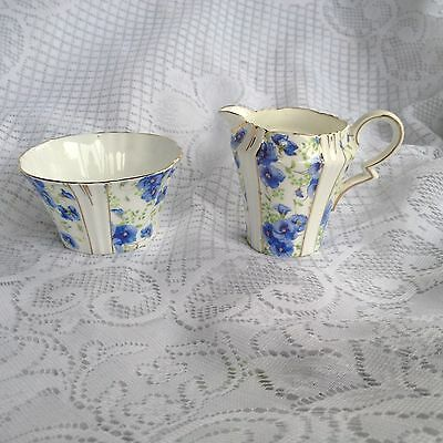 Royal Albert Blue Pansy Creamer/Open Sugar Bowl (988)