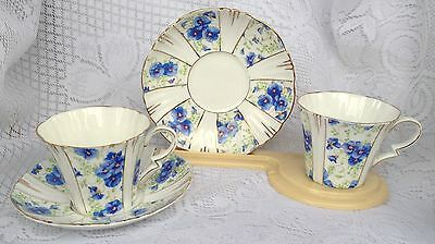 2 Royal Albert Blue Pansy Tea Cups with Matching Saucers  (989)