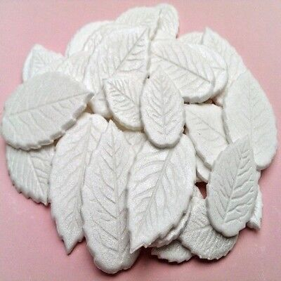 30 Edible sugar paste leaves leafs cake cupcake toppers decorations WHITE