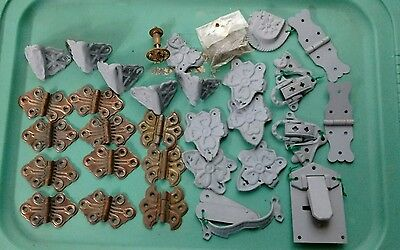 Assorted Lot 30 Vintage Dresser Door Hinges/Hardware for Furniture Restoration