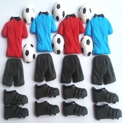 Edible sugar football equipment trainers T-shirts shorts cake cupcake topper