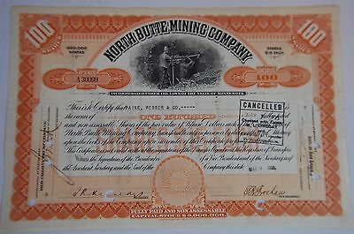 North Butte Mining Company 1925 Stock Certificate issued to Paine Webber & Co.