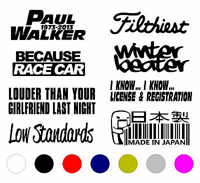 Jdm Car Sticker Decal Vinyl 8 Pack Lot Stance Boost Funny B18 Tuner