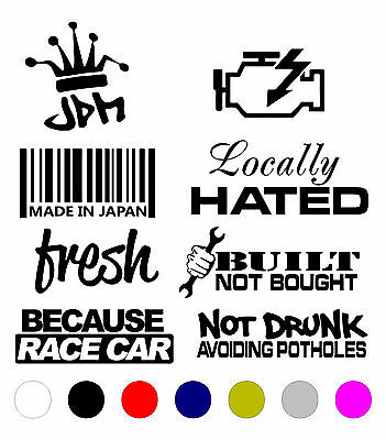Jdm Lot 8 Sticker Pack Car Decal Vinyl Jdm Funny Kdm Low Tuner Drift Boost Tow