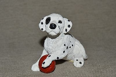 Dalmatian puppy Dog with red ball figurine Stone Critters Vintage Nice !