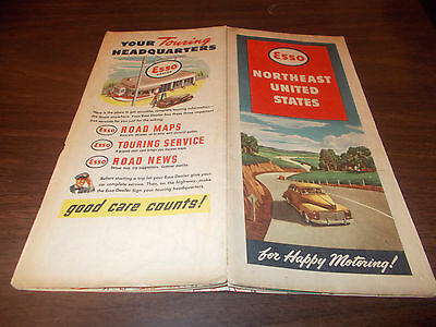 1940s esso northeast us vintage road map nice cover graphics