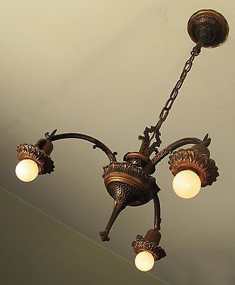 Great PAIR!! of Spanish Revival Arts and Crafts Light Fixtures Chandeliers 1923