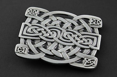 Rectangular Celtic Knot With Corner Detail  Metal Belt Buckle  Scottish Gaelic
