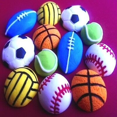 12 Edible sugar footballs Rugby Tennis Balls basketball volleyball cake toppers