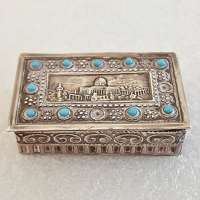 Antique Sterling Silver Tobacco Box & Image of Dome of the Rock-Jerusalem.Signed