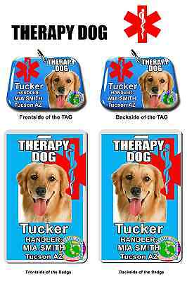 Service Dog ID THERAPY DOG Tag & Badge ID Card combo deal pet tag photo ID