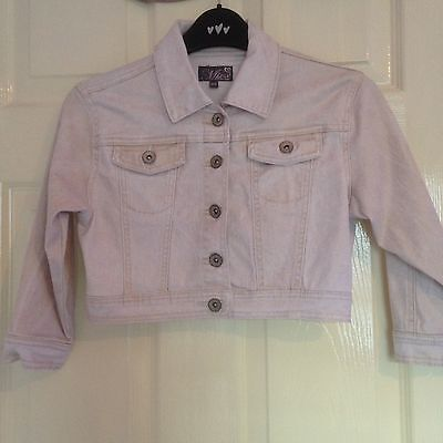 Girls Minx sparkly gold denim jacket style cropped jacket - age 11 - 12