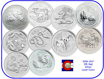 2008-2017 Australia Silver 1oz Lunar Coin Set, Series II, Mouse-Rooster