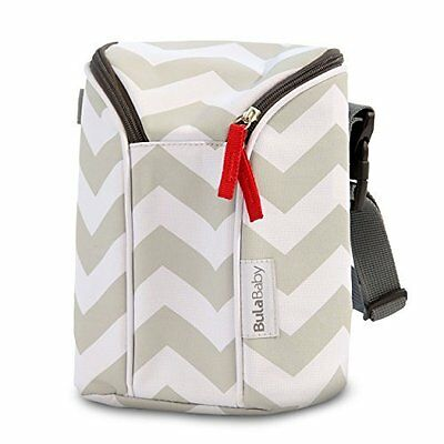 Bula Baby Insulated 2 Bottle Tote Bags Keep Baby Bottles Warm or Cool - Grey