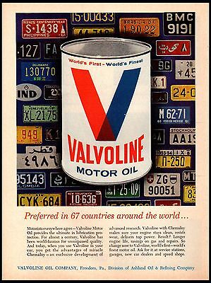 1964 Valvoline Motor Oil Can License plates 67 countries Vintage Print Ad