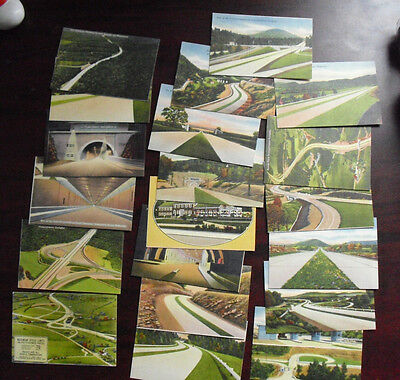 Lot of 20 Vintage 1950s Photo Print Cards Pennsylvania Turnpike LOOK
