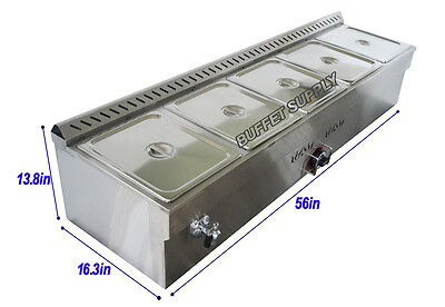 5-Pan Natural Gas Bain-Marie Buffet Food Warmer Steam Table with five 1/2 pans