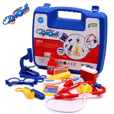Children's Toy Pretend Play Doctor Nurse Medicine Box Tools BOYS Simulation-Blue