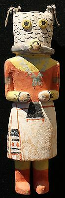 "1930's Hopi Indian Mongwa Wu-Uti Owl Woman 9 3/4"" Tall Katsina Kachina Doll"
