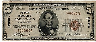 1929 National Currency Moxham NB of Johnstown PA $5 VF