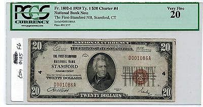 1929 National Currency Stamford CT $20 PCGS VF20