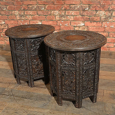 Antique Pair of Indian Carved Wooden Campaign Tables C19th Raj Side Lamp Tables