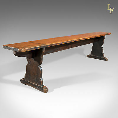 Antique Pine Bench Long Victorian Trestle Seat Kitchen Seating School Form