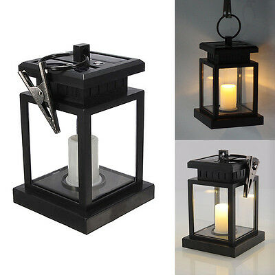 Led Solar Powered Hanging Candle Lantern Garden Table Lamp Outdoor Coach Light