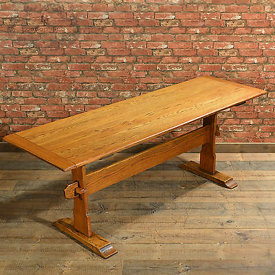 Antique Refectory Table, Arts & Crafts Dining English Oak Hall Side Narrow c1900
