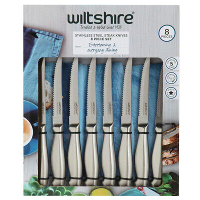 New WILTSHIRE 8pc Stainless Steel Steak Knife Set 12cm 8 Piece SAVE! W1086