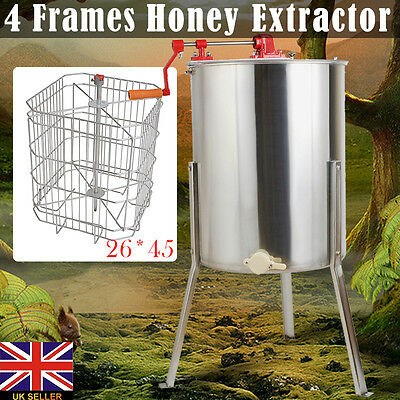 New 4/8 Frame Honey Extractor Stainless Steel Manual With Cover & Honey Outlet